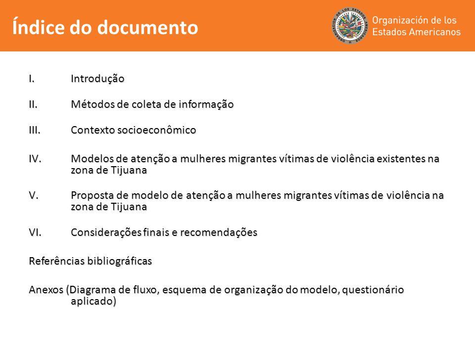 Índice do documento I.Introdução II.Métodos de coleta de informação III.Contexto socioeconômico IV.Modelos de atenção a mulheres migrantes vítimas de