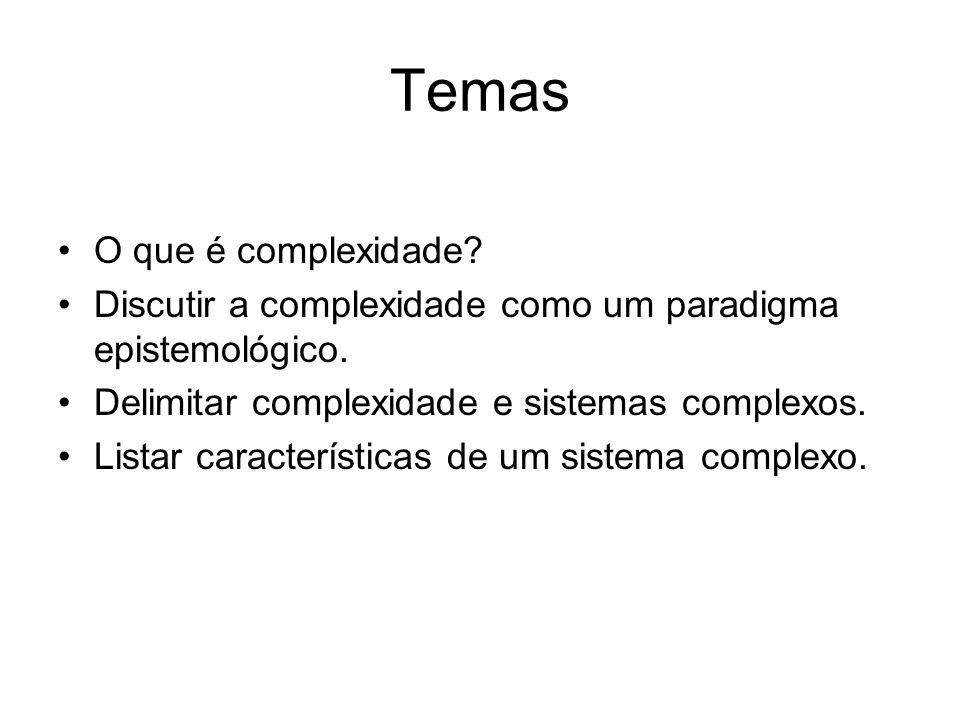 Temas O que é complexidade? Discutir a complexidade como um paradigma epistemológico. Delimitar complexidade e sistemas complexos. Listar característi