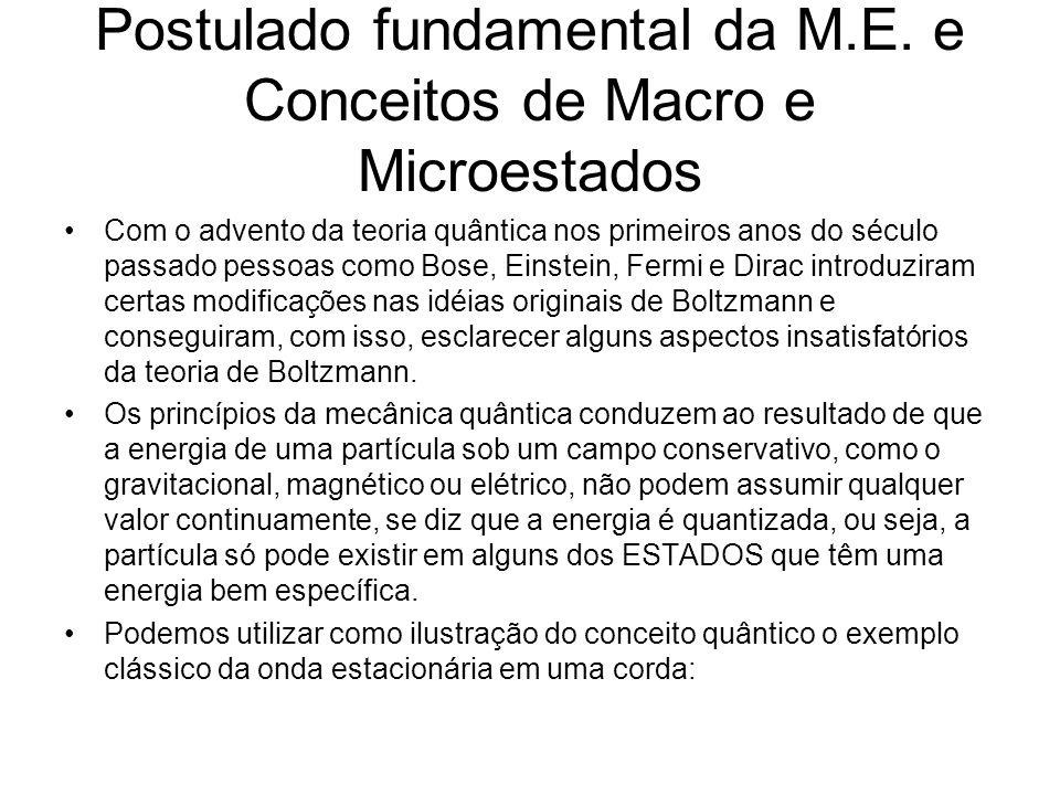 Postulado fundamental da M.E. e Conceitos de Macro e Microestados Com o advento da teoria quântica nos primeiros anos do século passado pessoas como B