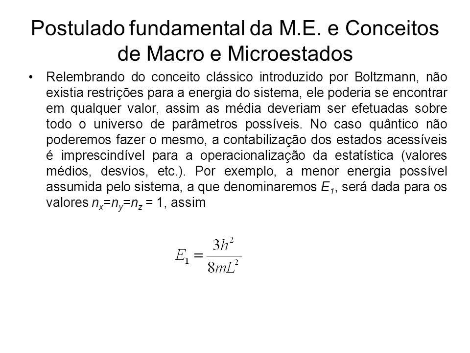 Postulado fundamental da M.E. e Conceitos de Macro e Microestados Relembrando do conceito clássico introduzido por Boltzmann, não existia restrições p