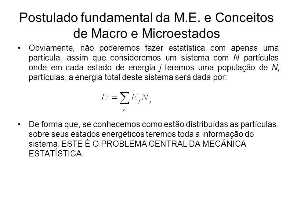 Postulado fundamental da M.E. e Conceitos de Macro e Microestados Obviamente, não poderemos fazer estatística com apenas uma partícula, assim que cons