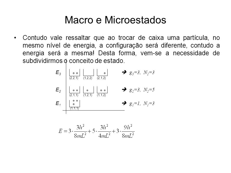 Macro e Microestados Contudo vale ressaltar que ao trocar de caixa uma partícula, no mesmo nível de energia, a configuração será diferente, contudo a energia será a mesma.