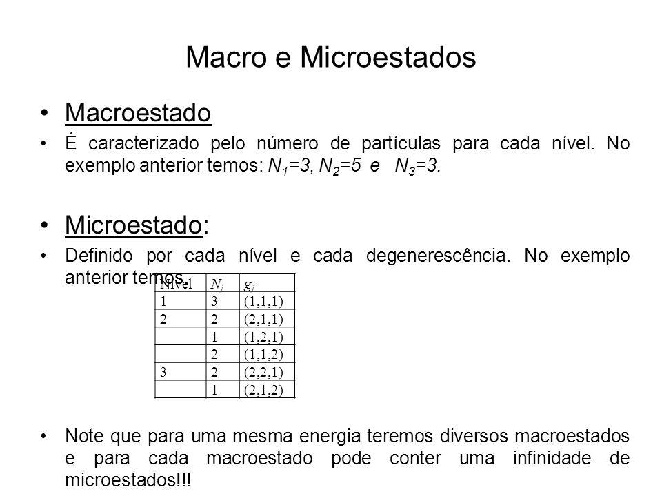 Macro e Microestados Macroestado É caracterizado pelo número de partículas para cada nível. No exemplo anterior temos: N 1 =3, N 2 =5 e N 3 =3. Microe