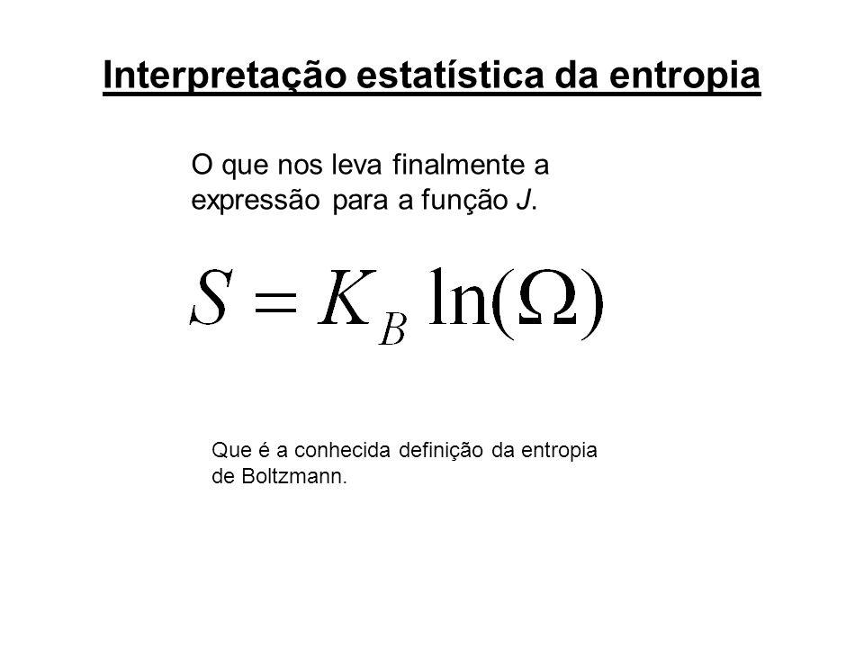 O que nos leva finalmente a expressão para a função J. Que é a conhecida definição da entropia de Boltzmann.