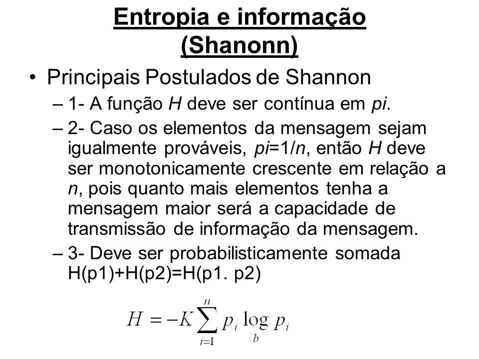 Entropia e informação (Shanonn) Principais Postulados de Shannon –1- A função H deve ser contínua em pi. –2- Caso os elementos da mensagem sejam igual