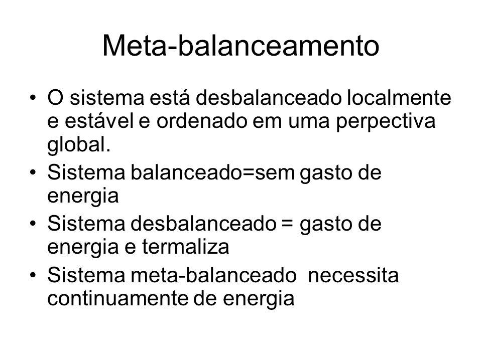 Meta-balanceamento O sistema está desbalanceado localmente e estável e ordenado em uma perpectiva global. Sistema balanceado=sem gasto de energia Sist