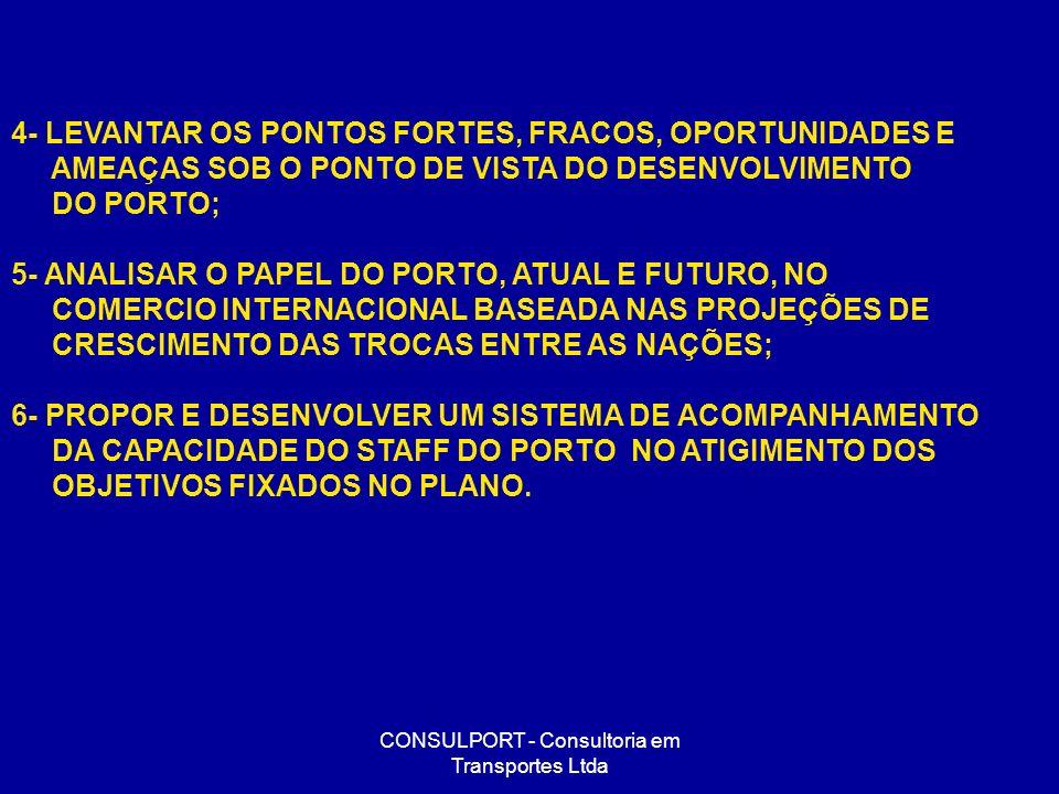 CONSULPORT - Consultoria em Transportes Ltda 4- LEVANTAR OS PONTOS FORTES, FRACOS, OPORTUNIDADES E AMEAÇAS SOB O PONTO DE VISTA DO DESENVOLVIMENTO DO