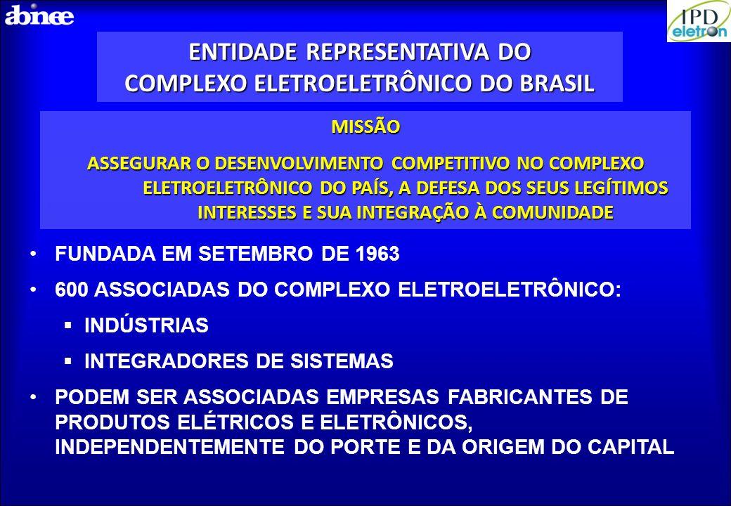 ENTIDADE REPRESENTATIVA DO COMPLEXO ELETROELETRÔNICO DO BRASIL MISSÃO ASSEGURAR O DESENVOLVIMENTO COMPETITIVO NO COMPLEXO ELETROELETRÔNICO DO PAÍS, A