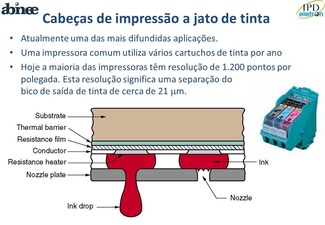Cabeças de impressão a jato de tinta Atualmente uma das mais difundidas aplicações. Uma impressora comum utiliza vários cartuchos de tinta por ano Hoj