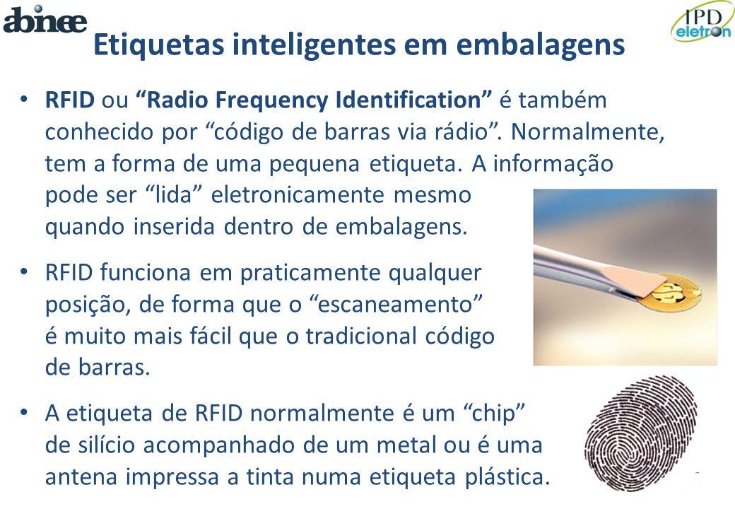 Etiquetas inteligentes em embalagens RFID ou Radio Frequency Identification é também conhecido por código de barras via rádio. Normalmente, tem a form