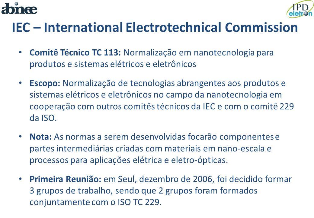 IEC – International Electrotechnical Commission Comitê Técnico TC 113: Normalização em nanotecnologia para produtos e sistemas elétricos e eletrônicos