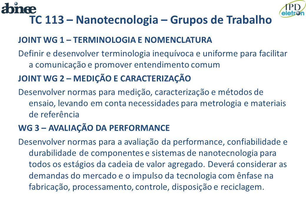 TC 113 – Nanotecnologia – Grupos de Trabalho JOINT WG 1 – TERMINOLOGIA E NOMENCLATURA Definir e desenvolver terminologia inequívoca e uniforme para fa