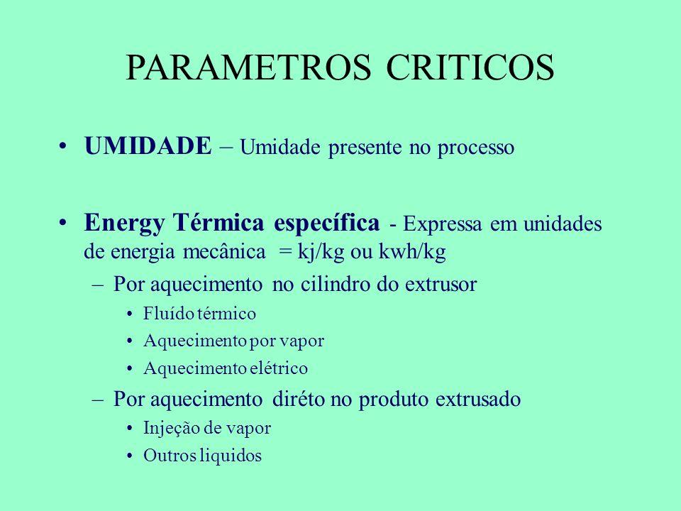 PARAMETROS CRITICOS UMIDADE – Umidade presente no processo Energy Térmica específica - Expressa em unidades de energia mecânica = kj/kg ou kwh/kg –Por