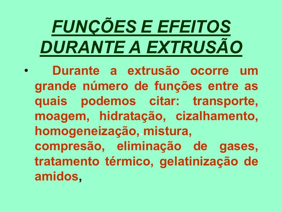 FUNÇÕES E EFEITOS DURANTE A EXTRUSÃO Durante a extrusão ocorre um grande número de funções entre as quais podemos citar: transporte, moagem, hidrataçã