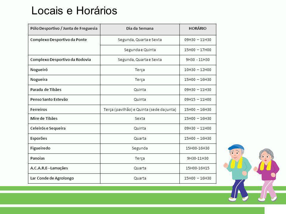 Pólo Desportivo / Junta de FreguesiaDia da SemanaHORÁRIO Complexo Desportivo da PonteSegunda, Quarta e Sexta09H30 – 11H30 Segunda e Quinta15H00 – 17H0