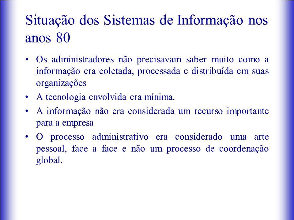 Situação dos Sistemas de Informação nos anos 80 Os administradores não precisavam saber muito como a informação era coletada, processada e distribuída
