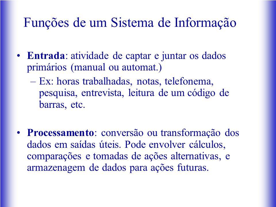 Funções de um Sistema de Informação Entrada: atividade de captar e juntar os dados primários (manual ou automat.) –Ex: horas trabalhadas, notas, telef