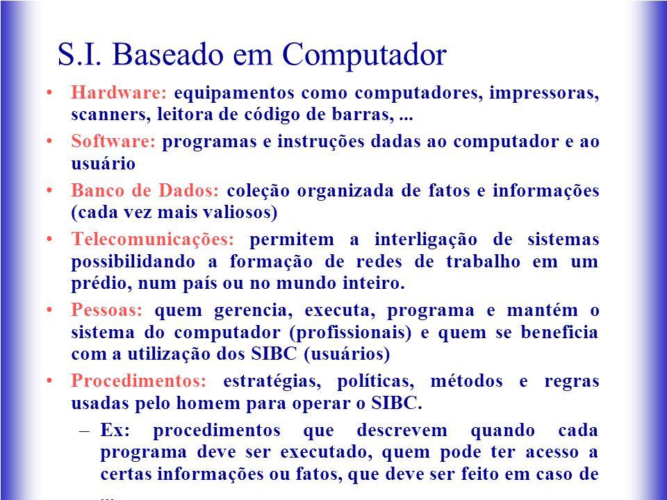 S.I. Baseado em Computador Hardware: equipamentos como computadores, impressoras, scanners, leitora de código de barras,... Software: programas e inst