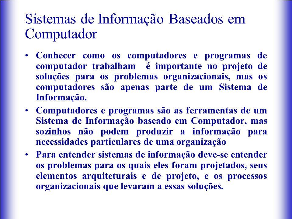 Sistemas de Informação Baseados em Computador Conhecer como os computadores e programas de computador trabalham é importante no projeto de soluções para os problemas organizacionais, mas os computadores são apenas parte de um Sistema de Informação.