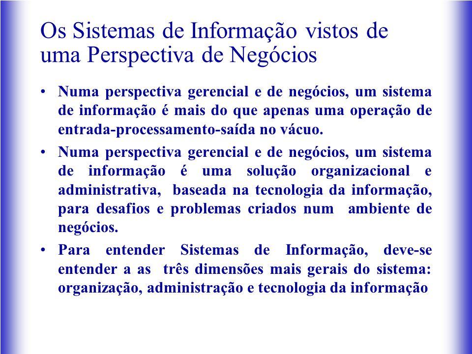 Os Sistemas de Informação vistos de uma Perspectiva de Negócios Numa perspectiva gerencial e de negócios, um sistema de informação é mais do que apenas uma operação de entrada-processamento-saída no vácuo.