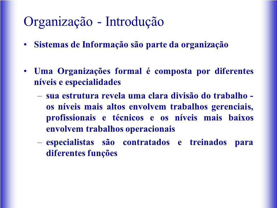 Organização - Introdução Sistemas de Informação são parte da organização Uma Organizações formal é composta por diferentes níveis e especialidades –sua estrutura revela uma clara divisão do trabalho - os níveis mais altos envolvem trabalhos gerenciais, profissionais e técnicos e os níveis mais baixos envolvem trabalhos operacionais –especialistas são contratados e treinados para diferentes funções