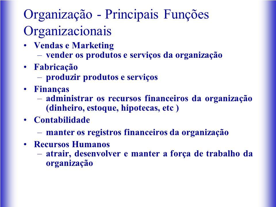 Organização - Principais Funções Organizacionais Vendas e Marketing –vender os produtos e serviços da organização Fabricação –produzir produtos e serv
