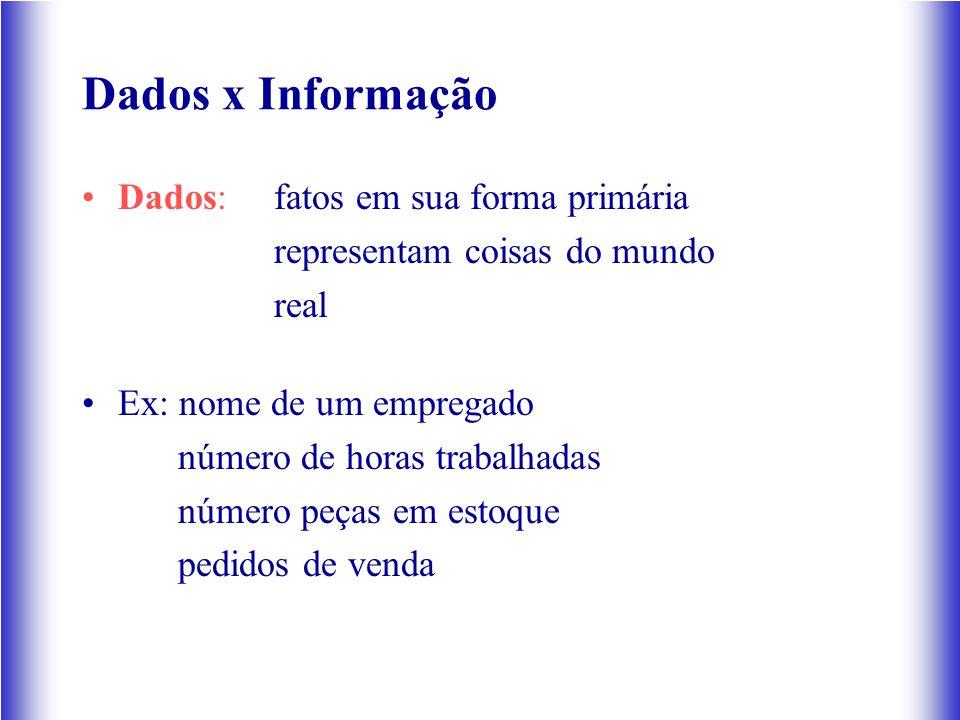 Dados x Informação Dados: fatos em sua forma primária representam coisas do mundo real Ex: nome de um empregado número de horas trabalhadas número peças em estoque pedidos de venda