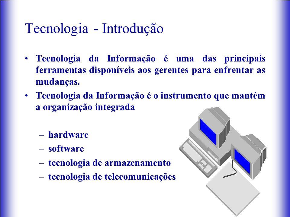 Tecnologia - Introdução Tecnologia da Informação é uma das principais ferramentas disponíveis aos gerentes para enfrentar as mudanças. Tecnologia da I