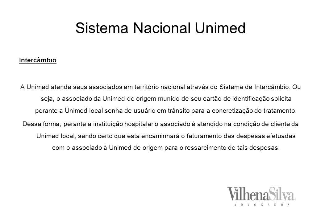 Sistema Nacional Unimed Intercâmbio A Unimed atende seus associados em território nacional através do Sistema de Intercâmbio.