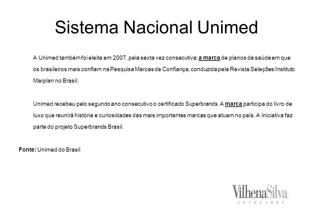 Sistema Nacional Unimed A Unimed também foi eleita em 2007, pela sexta vez consecutiva; a marca de planos de saúde em que os brasileiros mais confiam na Pesquisa Marcas de Confiança, conduzida pela Revista Seleções/Instituto Marplan no Brasil; Unimed recebeu pelo segundo ano consecutivo o certificado Superbrands.