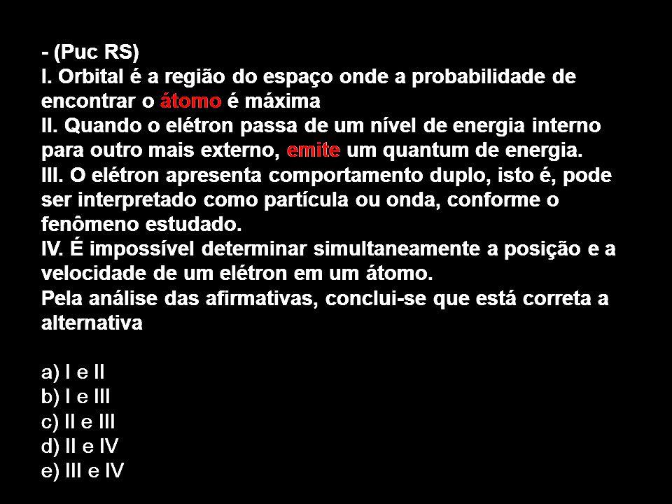 - (Puc RS) I. Orbital é a região do espaço onde a probabilidade de encontrar o átomo é máxima II. Quando o elétron passa de um nível de energia intern