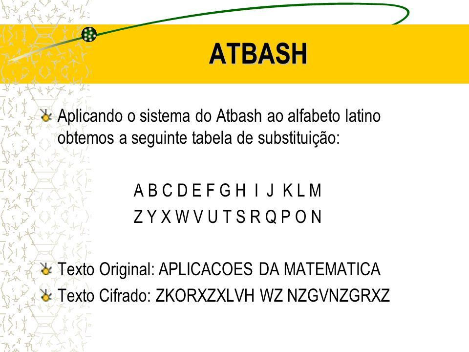 ATBASH Aplicando o sistema do Atbash ao alfabeto latino obtemos a seguinte tabela de substituição: A B C D E F G H I J K L M Z Y X W V U T S R Q P O N