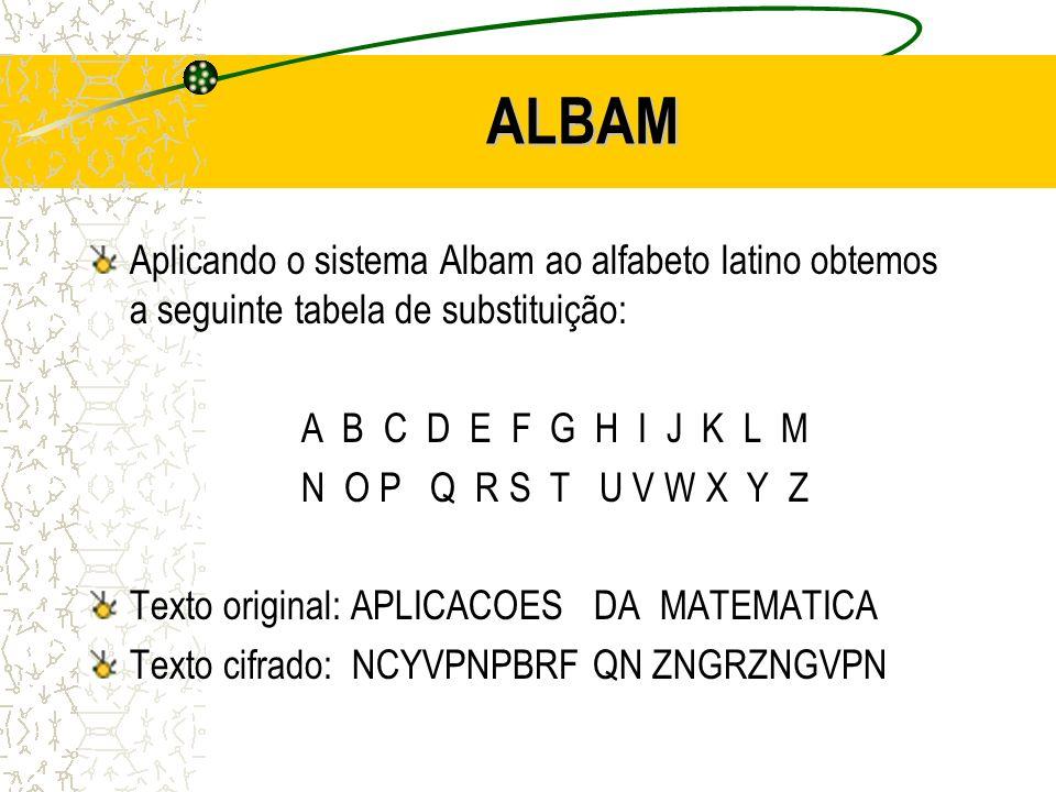 ALBAM Aplicando o sistema Albam ao alfabeto latino obtemos a seguinte tabela de substituição: A B C D E F G H I J K L M N O P Q R S T U V W X Y Z Texto original: APLICACOES DA MATEMATICA Texto cifrado: NCYVPNPBRF QN ZNGRZNGVPN