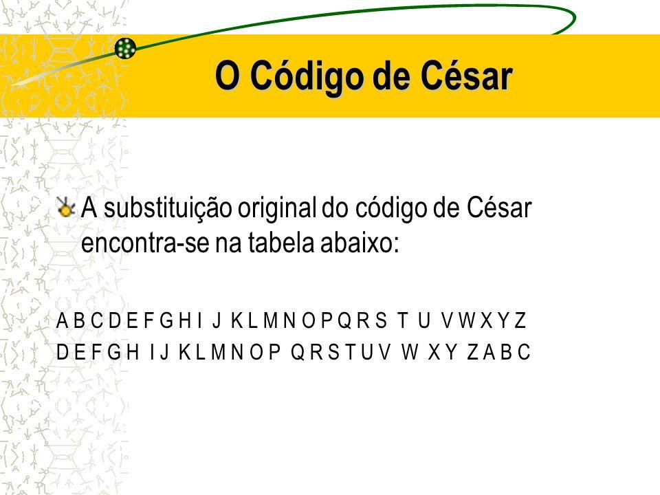 O Código de César A substituição original do código de César encontra-se na tabela abaixo: A B C D E F G H I J K L M N O P Q R S T U V W X Y Z D E F G