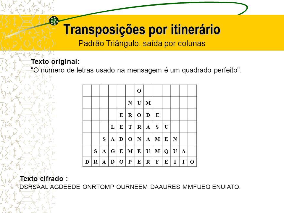 Transposições por itinerário O NUM ERODE LETRASU SADONAMEN SAGEMEUMQUA DRADOPERFEITO Texto original: O número de letras usado na mensagem é um quadrado perfeito .