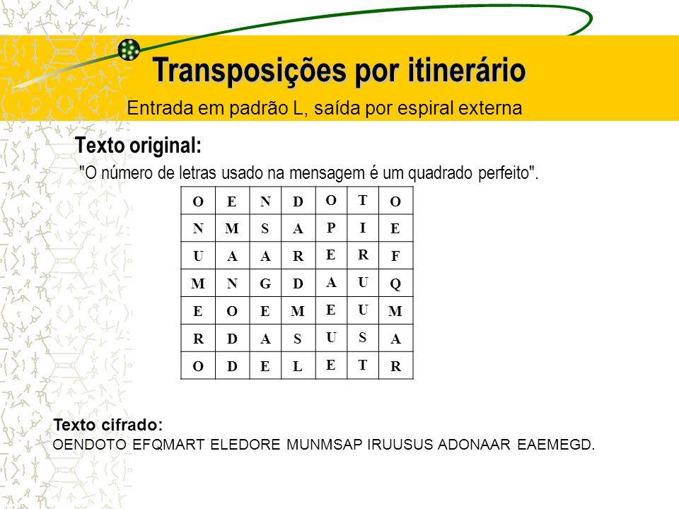 Entrada em padrão L, saída por espiral externa Texto original: O número de letras usado na mensagem é um quadrado perfeito .