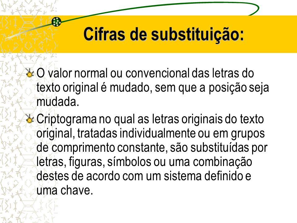 Cifras de substituição: O valor normal ou convencional das letras do texto original é mudado, sem que a posição seja mudada.