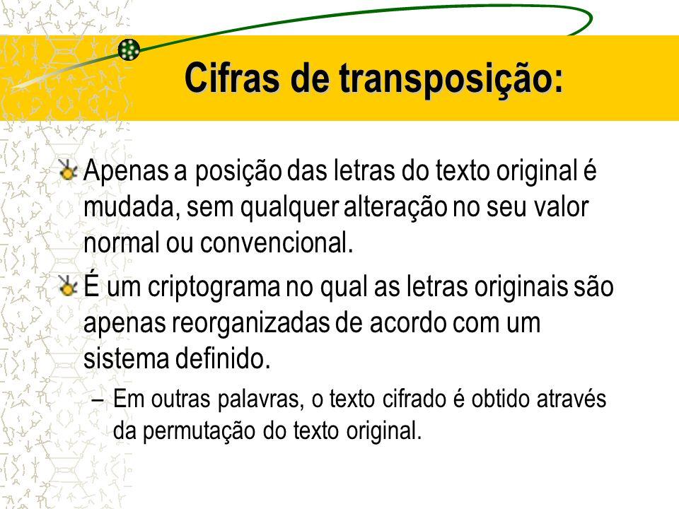 Cifras de transposição: Apenas a posição das letras do texto original é mudada, sem qualquer alteração no seu valor normal ou convencional. É um cript