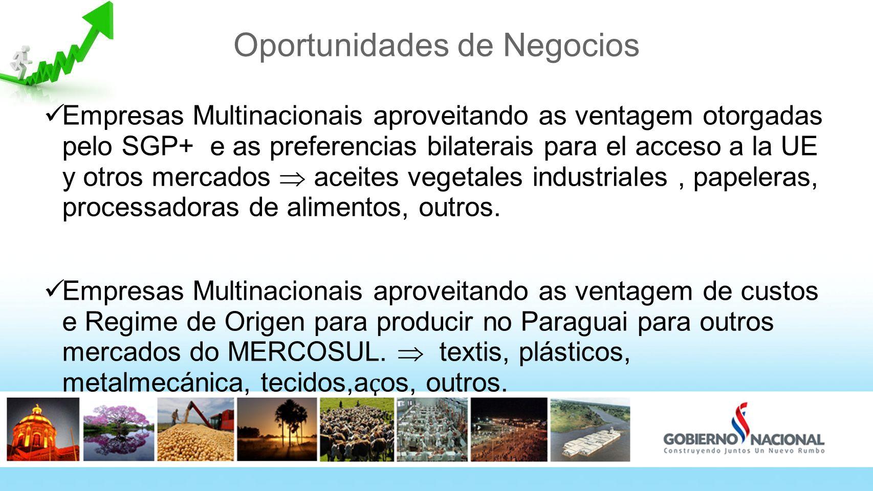 Oportunidades de Negocios Empresas Multinacionais aproveitando as ventagem otorgadas pelo SGP+ e as preferencias bilaterais para el acceso a la UE y o
