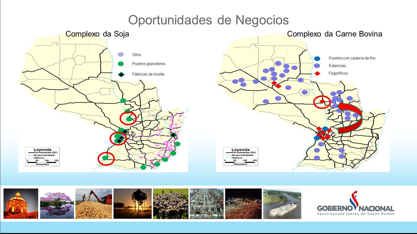 Oportunidades de Negocios Puertos graneleros Silos Fábricas de Aceite Estancias Frigoríficos Puertos con cadena de frío Complexo da Carne BovinaComple
