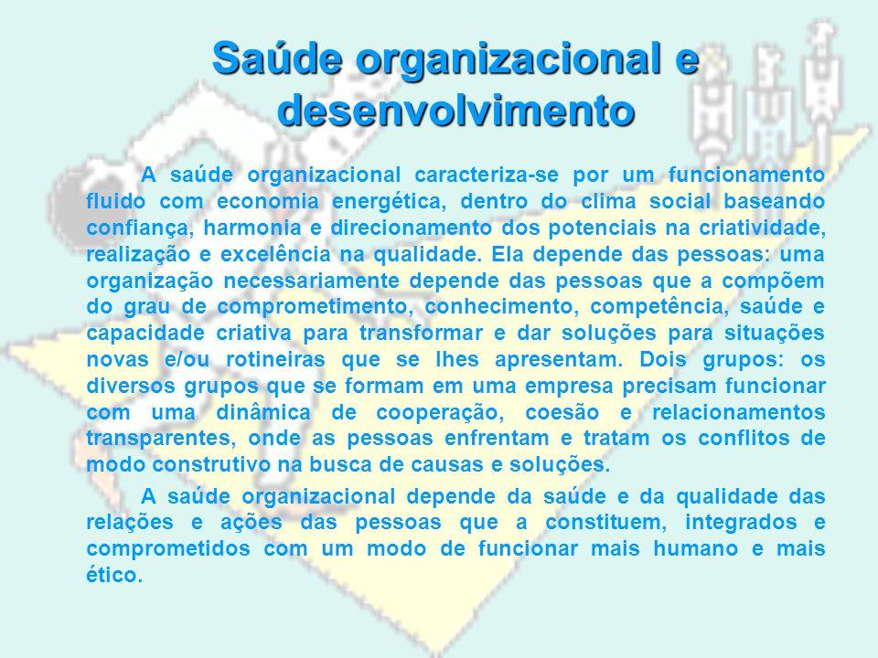 Saúde organizacional e desenvolvimento A saúde organizacional caracteriza-se por um funcionamento fluido com economia energética, dentro do clima social baseando confiança, harmonia e direcionamento dos potenciais na criatividade, realização e excelência na qualidade.