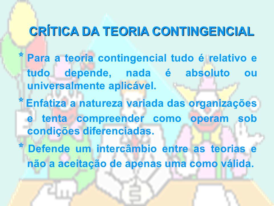 CRÍTICA DA TEORIA CONTINGENCIAL * Para a teoria contingencial tudo é relativo e tudo depende, nada é absoluto ou universalmente aplicável.