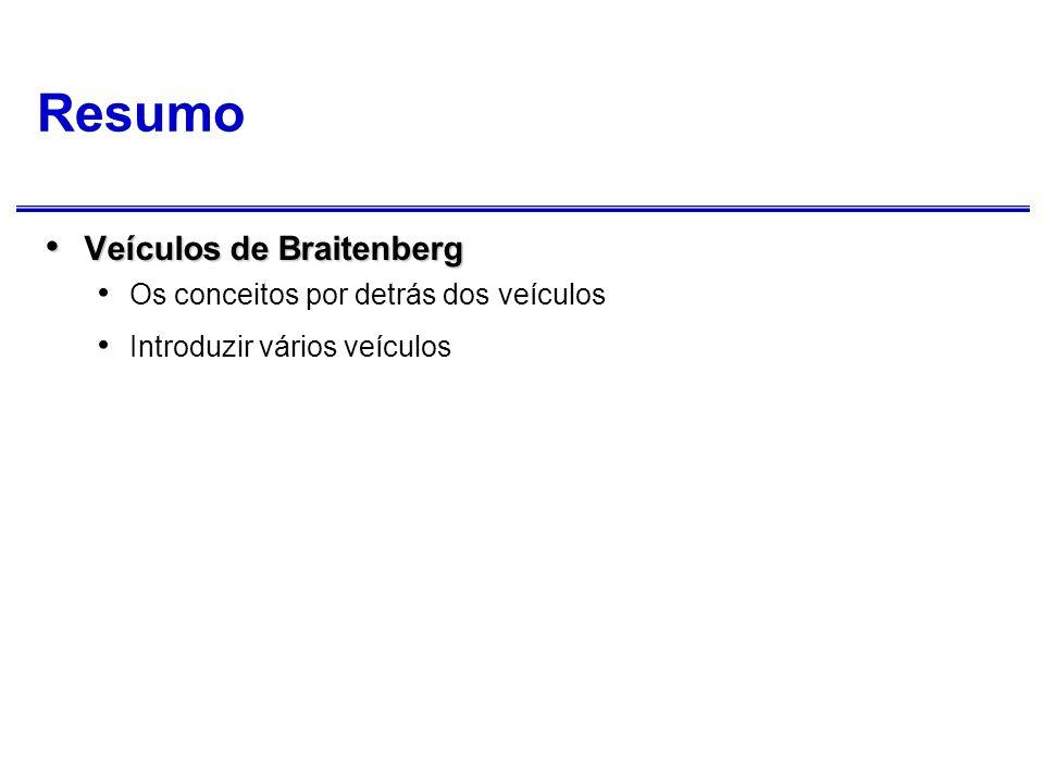 Veículos de Braitenberg Valentino Braitenberg Valentino Braitenberg Vehicles: Experiments in Synthetic Psychology (1984) Neuro-psicólogo (cibernético) interessado em como estruturas neuronais primitivas podem dar origem a comportamento complexo.