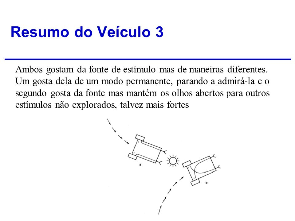 Super-Veículo 3 Um veículo multi-sensorial com 4 pares de sensores, sintonizados com diferentes qualidades do meio-ambiente: luz, temperatura, concentração de oxigénio e quantidade de matéria orgânica.