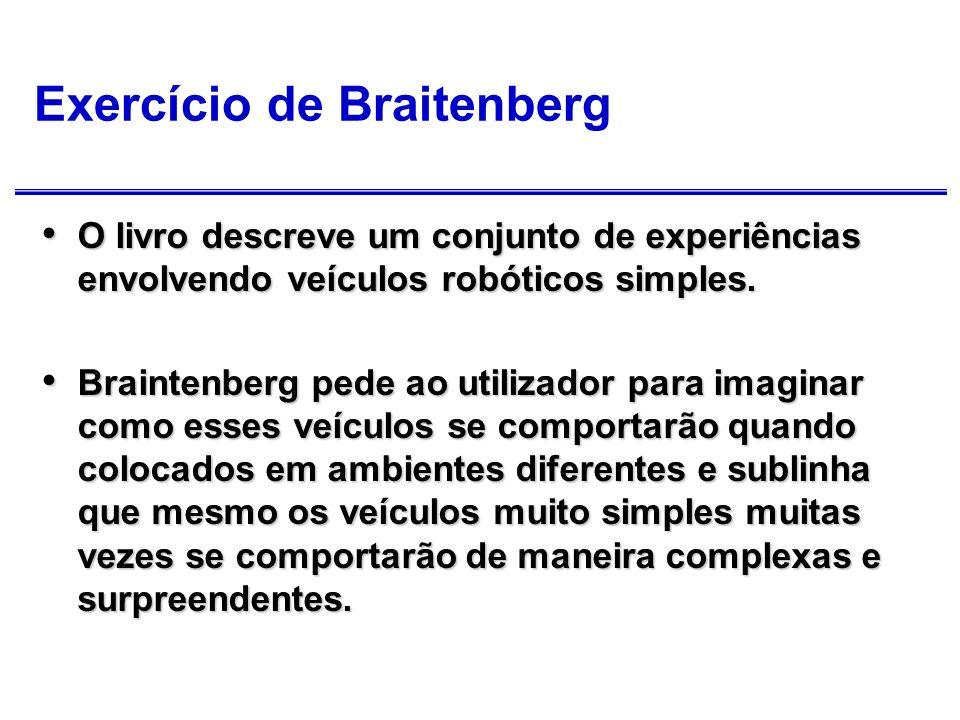 Exercício de Braitenberg (cont.) Braintenberg convida-nos a antropomorfizar quanto às suas invenções, atribuindo-lhes, por exemplo, emoções tais como amor, medo, ou agressão.