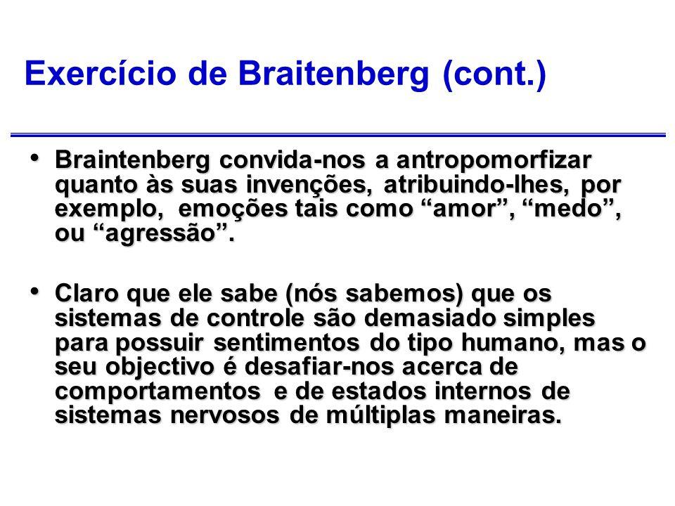 Exercício de Braitenberg (cont.) Ele deseja que nós nos apercebamos que, em geral sobrestimamos a complexidade do mecanismo dado o seu comportamento observado.