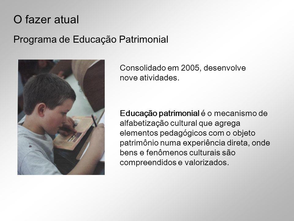 Programa de Educação Patrimonial Educação patrimonial é o mecanismo de alfabetização cultural que agrega elementos pedagógicos com o objeto patrimônio