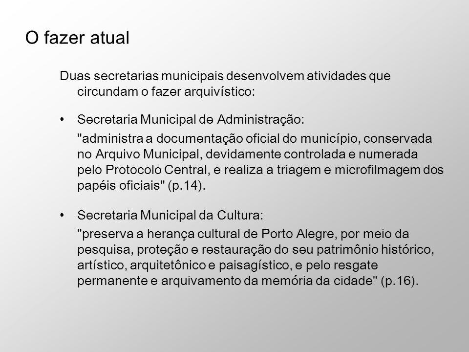 Duas secretarias municipais desenvolvem atividades que circundam o fazer arquivístico: Secretaria Municipal de Administração: