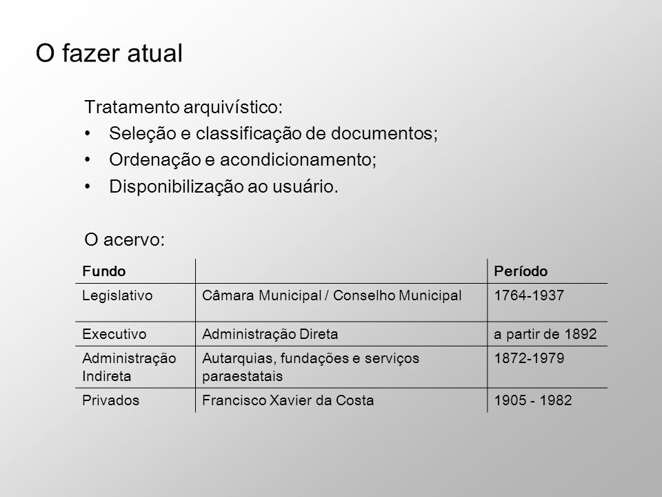 Tratamento arquivístico: Seleção e classificação de documentos; Ordenação e acondicionamento; Disponibilização ao usuário. O acervo: O fazer atual Fun