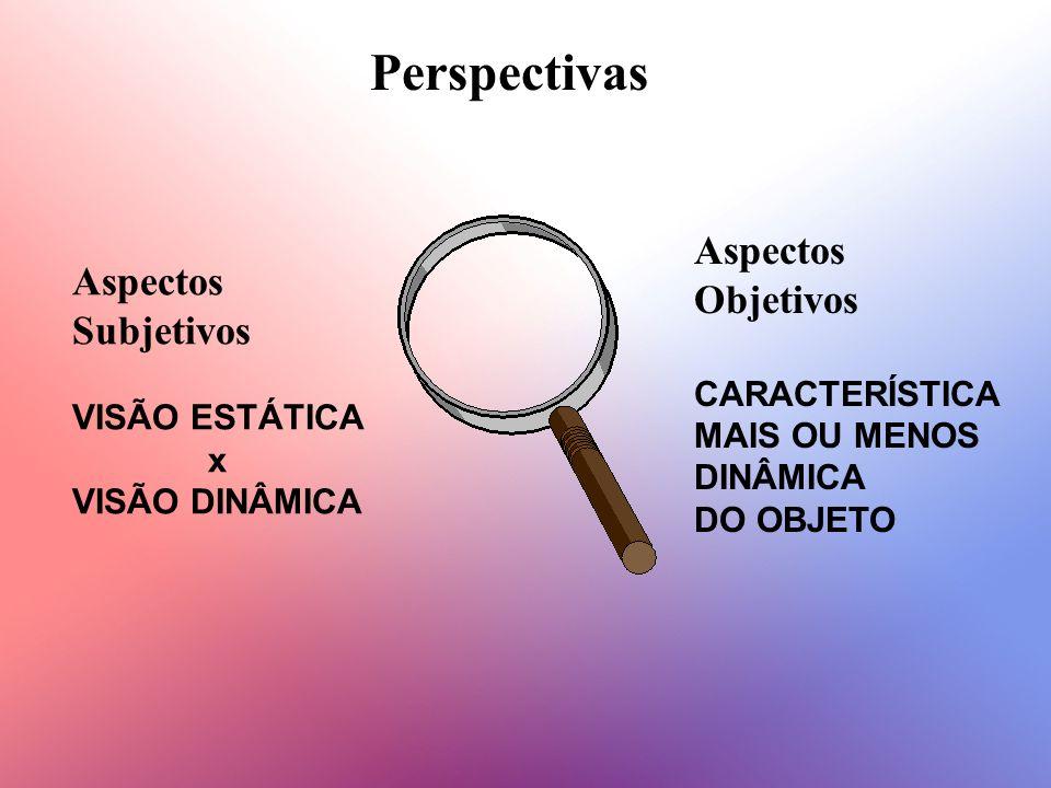 Perspectivas Aspectos Subjetivos VISÃO ESTÁTICA x VISÃO DINÂMICA Aspectos Objetivos CARACTERÍSTICA MAIS OU MENOS DINÂMICA DO OBJETO